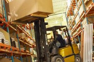 Forklift operators balance heavy loads safely on their machines.