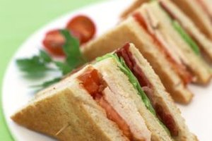 Simple club sandwiches make attractive lunch plates.