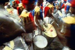 Make colorful, feathered masks and marching drums for Carnaval.