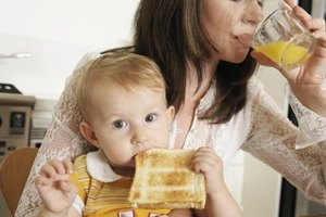 Your baby can't serve breakfast herself, but she can definitely pick it up and eat it.