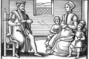 An English Puritan family in 1564.