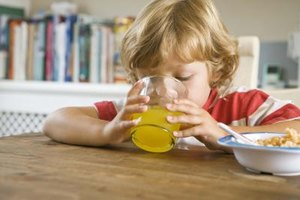 Pulp-free juice and low-fiber cereal makes an easy breakfast for a child.