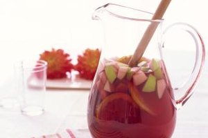 Sangria is made with wine, fruit and brandy.