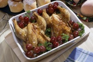 Stuff Cornish hens with bread stuffing or rice.