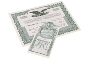 Some old paper stock certificates are considered collectibles.