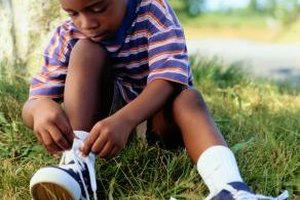 Catchy rhymes help kids remember the steps in tying a shoe.