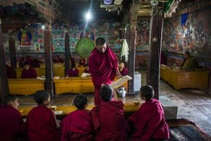 Monks' monastic responsibilities include cleaning, cooking and teaching.