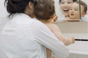 Look in the bathroom mirror with your baby.