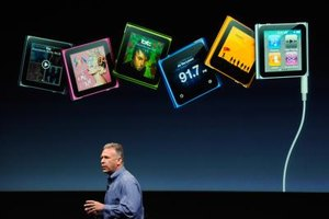 The Apple iPod Nano can hold several gigabytes of music files.