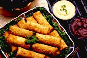 Frozen eggrolls will bake up crisp and tasty.