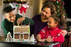 Use royal icing decorations for a gingerbread house.
