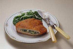 Chicken cordon bleu provides both eye and taste appeal.