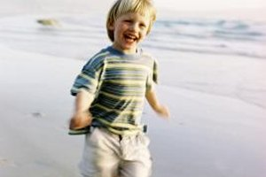 Running and playing helps your child develop his leg muscles.