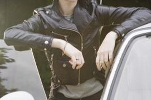 A black motorcycle-style leather jacket is a must-have for a rocker chick's closet.