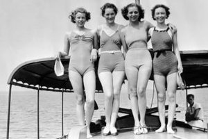 Vintage bathings suits worn by glamour gals.