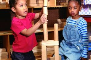Build tall towers to encourage your tots to work together.
