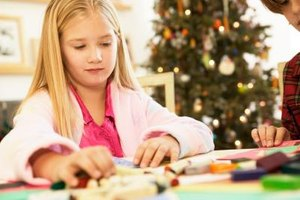 Preschoolers can work on Christmas projects with older siblings.