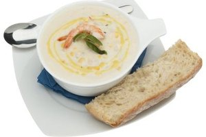 Creamy soups are best thickened with a roux made from rice flour at the beginning of the cooking process.