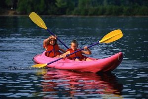Kids can kayak on the Tennessee River in Florence, Alabama.