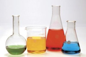 Beakers and flasks filled with colored water set the tone.