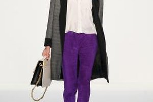 Purple jeans on the runway vary in hue and texture but are typically skinny cut.