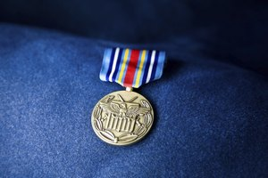 Close-up of marine medal