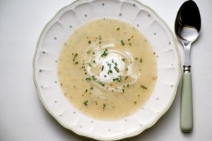Adding sour cream and chives livens up creamy potato soup.