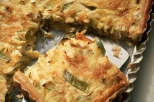 Square or rectangular quiches are showy, and easier to portion for groups.