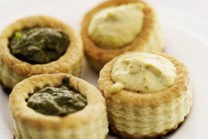 Vol au vents are prepared in advance, then filled to make quick and easy appetizers.