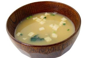 Miso soup relies on kombu for flavor.