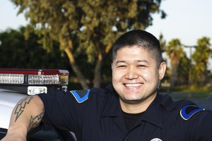 Close-up of smiling police officer