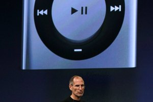The headphone jack is located on the top of the Shuffle.