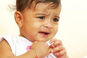 A toddler with laryngitis -- croup in children -- can find breathing hard work.