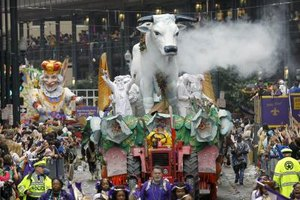 New Orleans' Mardi Gras celebration is heavily influenced by Cajun culture.