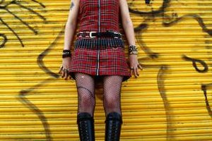 Plaid, leather and fishnet stockings are all perfectly fitting when you want to feel punk rock.