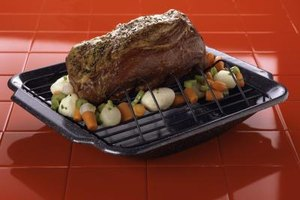 Dry roasted meats are often set on a rack, or atop a bed of vegetables.
