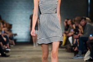 Gray shoes are a modern complement to classic black and white stripes on the runway.