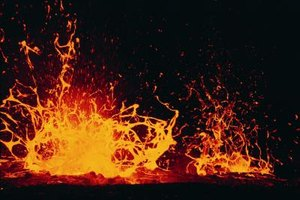 This experiment mimics the eruption of lava from a volcano.