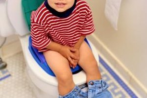 Boys can sit rather than stand when first learning to use the potty.