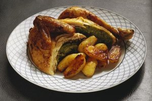 Roast chicken can be cooked fast and relatively fat-free using steam-infused roasting.