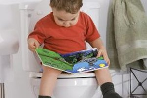 Let your toddler read while on the toilet to promote relaxation.