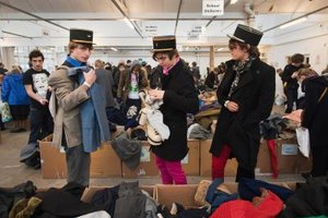 Shop at specialty stores for your retro look -- like these three young men at London's Angels Retro Sale in 2010.