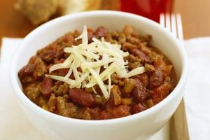 A bowl of thick chili makes a hearty meal on cold winter nights.