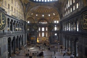 The Hagia Sophia in Istanbul was the inspiration for central plan mosques.