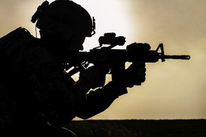 Silhouette of a U.S. Marine Corps Recon soldier