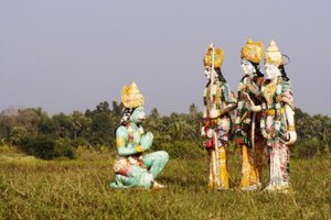Hanuman, Rama, Sita and Lakshman statues are common throughout India.