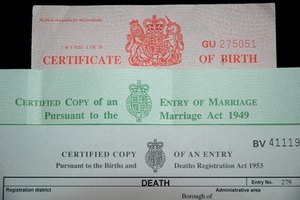 A sealed birth certificate indicates it is a legal document.