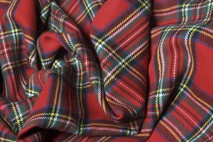 An overhead view of tartan fabric.