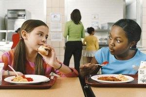 Two young students eating lunch together.