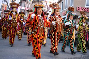 Dancers in full costume at parade